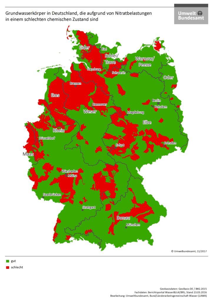 Deutschlandkarte des Umweltbundesamtes mit farbigen Markierungen zu NItratbelastung in Deutschland
